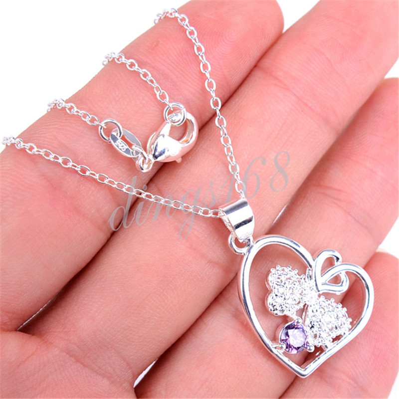 # GIFT FOR Mother # 925 Sterling Silver Purple Crystal Heart