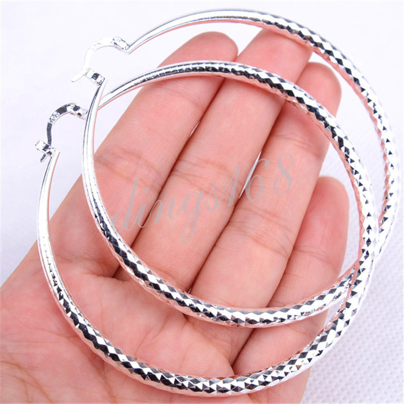Daily Special 70/%OFF 925 Sterling Silver Fish Scale X-large Hoop Earrings Z905